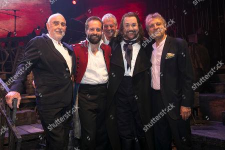 Claude-Michel Schonberg (Music), Alfie Boe (Jean Valjean), Cameron Mackintosh (Producer), Michael Ball (Javert) and Alain Boublil (Author) backstage