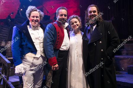 Matt Lucas (Thenardier), Alfie Boe (Jean Valjean), Carrie Hope Fletcher (Fantine) and Michael Ball (Javert) backstage