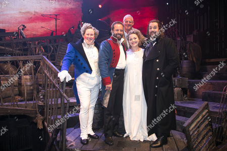 Matt Lucas (Thenardier), Alfie Boe (Jean Valjean), Cameron Mackintosh (Producer), Carrie Hope Fletcher (Fantine) and Michael Ball (Javert) backstage