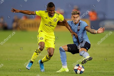 Ronald Matarrita, Luis Diaz. New York City FC defender Ronald Matarrita, right, tries to keep the ball from Columbus Crew midfielder Luis Diaz during the second half of an MLS soccer match, in New York. NYCFC won 1-0