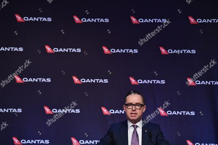 QANTAS Group CEO Alan Joyce speaks to the media as QANTAS Group delivers their full year results in Sydney, Australia, 22 August 2019. According to media reports, QANTAS posted a 6.5 percent fall in profits, sighting an increase in the cost of oil as the primary reason for the shortfall.
