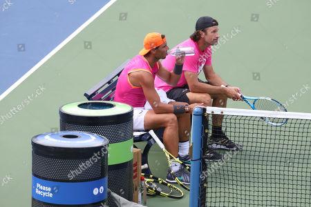 Rafael Nadal and Carlos Moya during practise