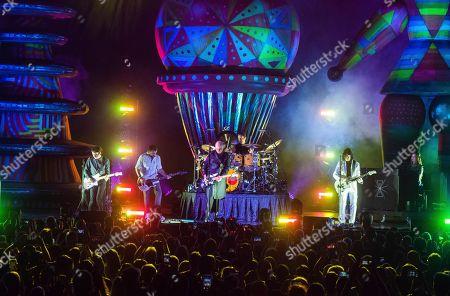 Billy Corgan of the Smashing Pumpkins performs on stage at Ameris Bank Amphitheatre, in Alpharetta, Ga