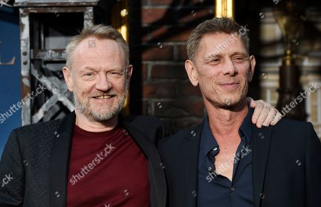 """Jared Harris, Jamie Harris. Jared Harris, left, a cast member in the Amazon Prime Video series """"Carnival Row,"""" poses with his brother Jamie Harris at the premiere of the series at the TCL Chinese Theatre, in Los Angeles"""