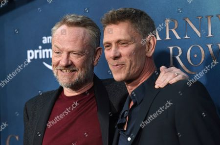 "Jared Harris, Jamie Harris. Jared Harris, left, a cast member in the Amazon Prime Video series ""Carnival Row,"" poses with his brother Jamie Harris at the premiere of the series at the TCL Chinese Theatre, in Los Angeles"