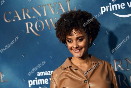 """Karla Crome, a cast member in the Amazon Prime Video series """"Carnival Row,"""" poses at the premiere of the series at the TCL Chinese Theatre, in Los Angeles"""