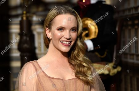 "Tamzin Merchant, a cast member in the Amazon Prime Video series ""Carnival Row,"" poses at the premiere of the series at the TCL Chinese Theatre, in Los Angeles"