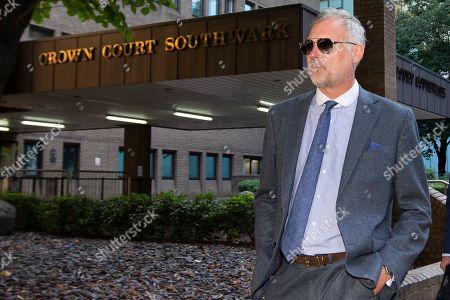 Stock Image of John Leslie departs Southwark Crown Court