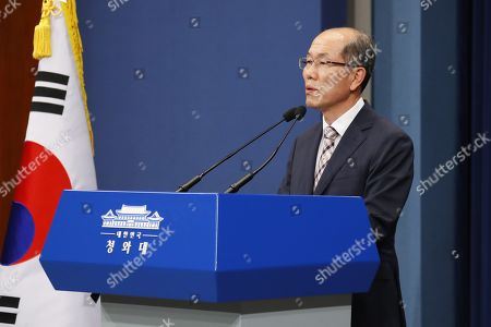 Kim You-geun, deputy director of South Korea's presidential national security office, announces Seoul's decision to scrap the General Security of Military Information Agreement with Japan, during a press briefing in Seoul, South Korea, 22 August 2019. Kim cited 'grave change' in security cooperation conditions brought on by Tokyo's export restrictions as the reason for the move to end the bilateral intelligence sharing arrangement.