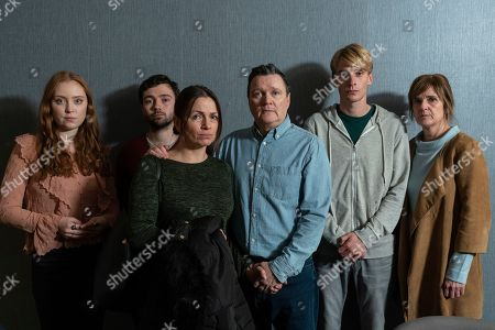 (L-R) Jessica D'Arcy as Lora, Jake Davies as Liam, Simone Lahbib as Debbie, Ian Puleston-Davies as Mick O'Callaghan, Charlie Cooper as Kevin Reape and Siobhan Finneran as Elaine Pickford.