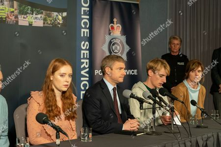 Jessica D'Arcy as Lora, Martin Freeman as Steve Fulcher, Charlie Cooper as Kevin Reape and Siobhan Finneran as Elaine Pickford.