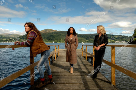Stock Picture of Anna Friel as Lisa Kallisto, Rosalind Eleazar as Kate Riverty and Sinead Keenan as Roz Toovey.