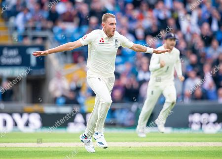 England's Stuart Broad celebrates dismissing Australia's Matthew Wade.