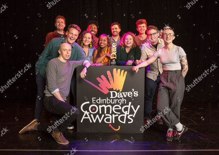 Nominees for the Dave Edinburgh Comedy Awards are announced for 2019, now in it's 39th year (L-R): Henry Perryment, Joe Barnes (Goodbear), Jordan Brookes (front), Jessica Fostekew, Darren Harriott, London Hughes, Spencer Jones, Amy Gledhill (Delightful Sausage), Ivo Graham, Chris Cantrill (Delightful Sausage) and Demi Lardner. The winners will be revealed on 24th August 2019.