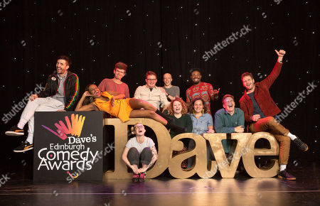 Nominees for the Dave Edinburgh Comedy Awards are announced for 2019, now in it's 39th year (L-R): Spencer Jones, London Hughes, Ivo Graham, Demi Lardner, Chris Cantrill (Delightful Sausage), Jordan Brookes, Amy Gledhill (Delightful Sausage), Darren Harriott, Jessica Fostekew, Joe Barnes (Goodbear) and Henry Perryment (Goodbear). The winners will be revealed on 24th August 2019.