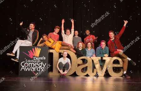 Stock Photo of Nominees for the Dave Edinburgh Comedy Awards are announced for 2019, now in it's 39th year (L-R): Spencer Jones, London Hughes, Ivo Graham, Demi Lardner, Chris Cantrill (Delightful Sausage), Jordan Brookes, Amy Gledhill (Delightful Sausage), Darren Harriott, Jessica Fostekew, Joe Barnes (Goodbear) and Henry Perryment (Goodbear). The winners will be revealed on 24th August 2019.
