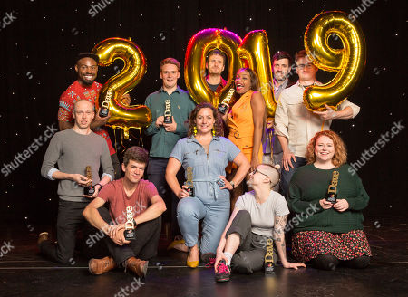 Nominees for the Dave Edinburgh Comedy Awards are announced for 2019, now in it's 39th year (Top row L-R): Darren Harriott, Joe Barnes (Goodbear), Henry Perryment (Goodbear), London Hughes, Spencer Jones and Chris Cantrill (Delightful Sausage). (Front row L-R): Jordan Brookes, Ivo Graham, Jessica Fostekew, Demi Lardner and Amy Gledhill (Delightful Sausage). The winners will be revealed on 24th August 2019.