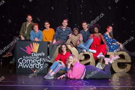 Newcomers for the Dave's Edinburgh Comedy Awards are announced for 2019 (L-R): James Gault, Michael Clarke, Ed Jones (Crybabies), Huge Davies, Janine Harouni, Helen Bauer, Michael Odewale, Nigel Ng, Sophie Duker and Catherine Cohen