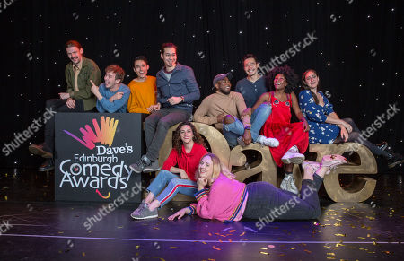 Stock Image of Newcomers for the Dave's Edinburgh Comedy Awards are announced for 2019 (L-R): James Gault, Michael Clarke, Ed Jones (Crybabies), Huge Davies, Janine Harouni, Helen Bauer, Michael Odewale, Nigel Ng, Sophie Duker and Catherine Cohen