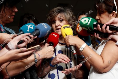 Acting Spanish Health Minister, Maria Luisa Carcedo (C), talks to media upon her arrival to Physically Disabled People Care Center in Leganes, Madrid, Spain, 22 August 2019. Carcedo assured that the origin of the listeriosis outbreak is in Magrudis' plant that produces 'La Mecha' larded meat, in Seville, southern Spain. At least 150 people are affected by the listeria infection. The plant is closed and the brand's products were withdrawn.