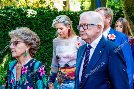 Princess Margriet, Pieter Van Vollenhoven, King Willem-Alexander, Queen Maxima during the funeral procession from the Dome of Fagel to the Coach House on the grounds of Noordeinde Palace