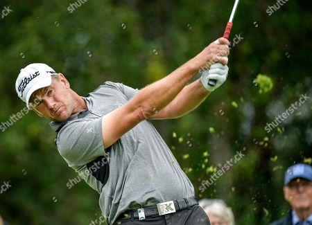 Robert Karlsson of Sweden in action during the Scandinavian Invitation golf tournament at Hills Golf & Sports Club in Molndal, Sweden, 22 August 2019.