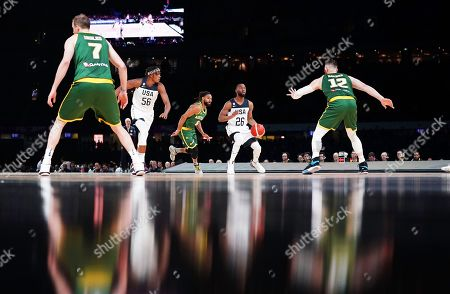 Kemba Walker (2-R) of the USA in action during match 1 of the Pre-FIBA World Cup series between Australia and the USA at Marvel Stadium in Melbourne, Australia, 22 August 2019.