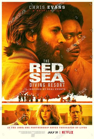The Red Sea Diving Resort (2019) Poster Art. Chris Evans as Ari Levinson, Michael K Williams as Kabede Bimro, Sir Ben Kingsley as Ethan Levin, Haley Bennett as Rachel Reiter and Greg Kinnear as Walton Bowen