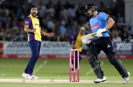 Mohammed Amir of Essex celebrates taking the wicket of Luke Wright during Sussex Sharks vs Essex Eagles, Vitality Blast T20 Cricket at The 1st Central County Ground on 22nd August 2019