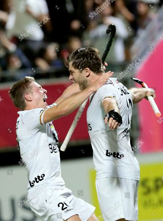 Belgium's Cedric Charlier, right, jubilates after scoring his sides fourth goal during a men's European Championship field hockey semi-final match between Belgium and Germany at the Wilrijkse Plein, Antwerp, Belgium