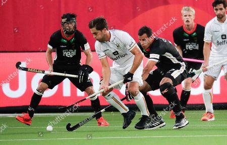 Cedric Charlier (C) of Belgium in action during the EuroHockey 2019 men's semi final match between Belgium and Germany in Antwerp, Belgium, 22 August 2019.