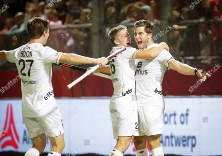 Cedric Charlier (R) of Belgium celebrates with his teammates after scoring a goal during the EuroHockey 2019 men's semi final match between Belgium and Germany in Antwerp, Belgium, 22 August 2019.