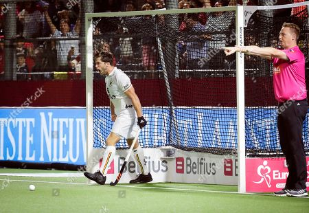 Cedric Charlier (L) of Belgium celebrates after scoring a goal during the EuroHockey 2019 men's semi final match between Belgium and Germany in Antwerp, Belgium, 22 August 2019.