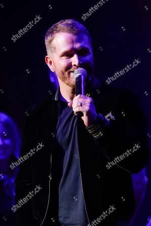 Stock Image of Shane McAnally accepts the Songwriter of the Year Award at the 13th Annual ACM Honors at the Ryman Auditorium on in Nashville, Tenn