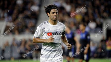 Los Angeles FC forward Carlos Vela in action against the San Jose Earthquakes during the second half of an MLS soccer match, in Los Angeles