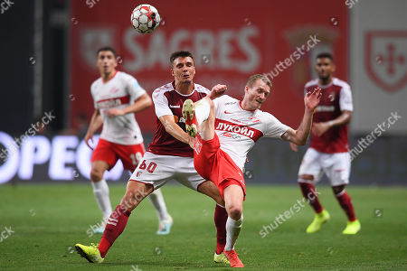 Braga's Joao Palhinha (2-L) in action against Spartak Moscow's Andre Schuerrle (2-R) during the UEFA Europa League playoff, first leg soccer match between Sporting Braga and Spartak Moscow in Braga, Portugal, 22 August 2019.