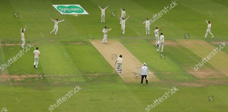 LEEDS, ENGLAND. 22 AUGUST Stuart Broad of England celebrates taking the wicket of Usman Khawaja of Australia during day one of the 3rd Specsavers Ashes Test Match, at Headingley Cricket Ground, Leeds, England