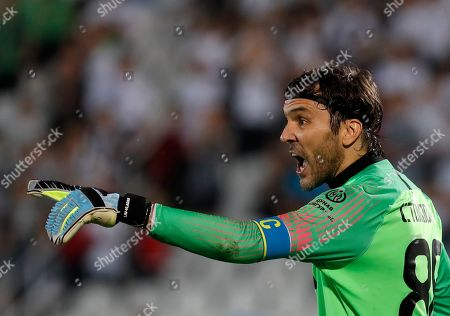 Partizan's goalkeeper Vladimir Stojkovic reacts during the Europa League qualifying play-off first leg soccer match between Partizan and Molde at the Partizan stadium in Belgrade, Serbia