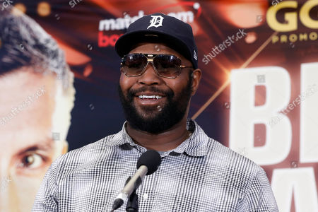 Stock Image of Boxing trainer Johnathon Banks speaks during a news conference at New York's Madison Square Garden