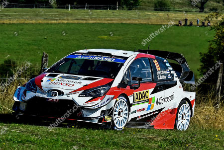 Jari-Matti Latvala of Finland drives his Toyota Yaris WRC, RC1 during the shakedown of the Rally of Germany