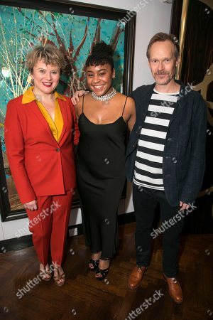 Stock Picture of Monica Dolan (Toni Lafayette), Ola Ince (Director) and Steven MacKintosh (Bo Lafayette)