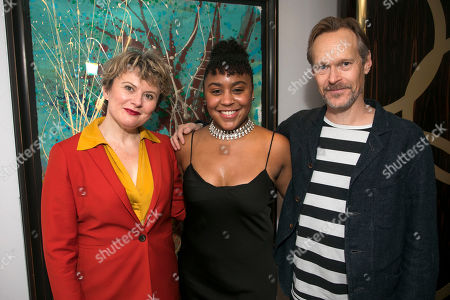 Stock Photo of Monica Dolan (Toni Lafayette), Ola Ince (Director) and Steven MacKintosh (Bo Lafayette)