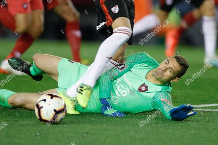 Stock Photo of Cerro Porteno's goalkeeper Juan Pablo Carrizo in action for a penalty during the Copa Libertadores soccer match between River Plate and Cerro Porteno, at the Monumental Stadium in Buenos Aires, Argentina, 22 August 2019.