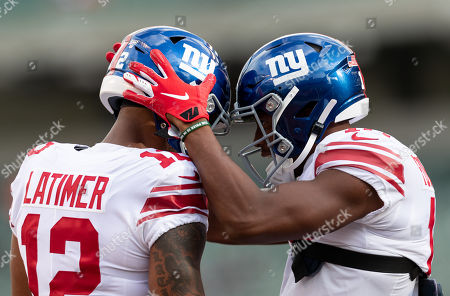 New York Giants wide receiver Cody Latimer (12) and New York Giants wide receiver Bennie Fowler (18) during NFL football preseason game action between the New York Giants and the Cincinnati Bengals at Paul Brown Stadium in Cincinnati, OH