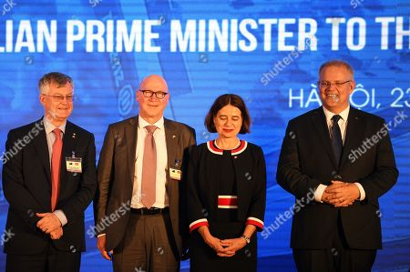 (L-R) Secretary of the Department of Prime Minister and Cabinet Martin Parkinson, Chief of Staff to Scott Morrison John Kunkel, Australian Ambassador to Vietnam Robyn Mudie and Australian Prime Minister Scott Morrison pose for photographs during an event at the Hanoi Formula One Grand Prix construction site in Hanoi, Vietnam, 23 August 2019. Morrison is in Vietnam for a two-day official visit.