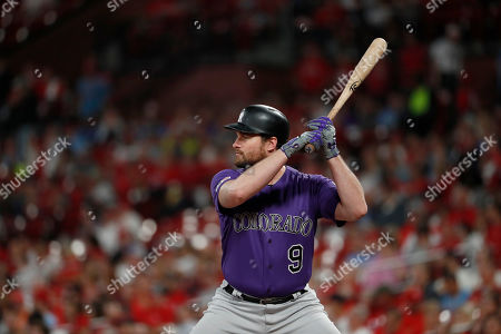 Colorado Rockies' Daniel Murphy bats during the second inning of a baseball game against the St. Louis Cardinals, in St. Louis