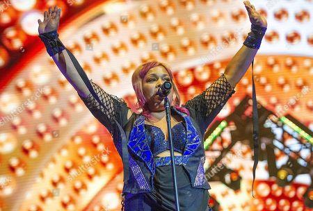 Stock Picture of Tionne ââ?¬Å?T-bozââ?¬ÂÂ? Watkins with TLC performs live at Austin 360 Amphitheater, Circuit of The Americas. Austin, Texas