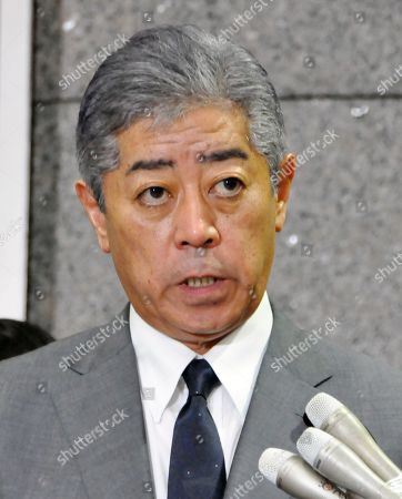 Stock Picture of Japanese Defence Minister Takeshi Iwaya speaks to reporters in Tokyo, Japan, 23 August 2019. Iwaya reacted on South Korea's decision to scrap the General Security of Military Information Agreement (GSOMIA) with Japan.