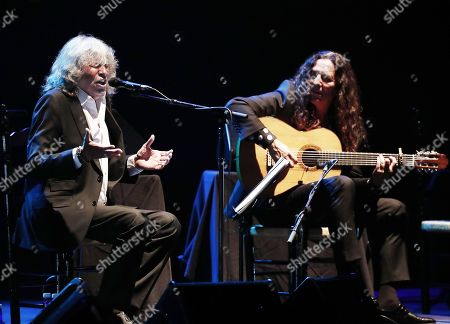 Stock Photo of Spanish Flamenco singer Jose Merce (L) and Flamenco guitarist Tomatito (R) perform at Baluarte Auditorium as part of 6th Flamenco on Fire Festival in Pamplona, Navarra, late 22 August 2019 (issued on 23 August 2019). The Flamenco festival runs from 20 to 25 August.