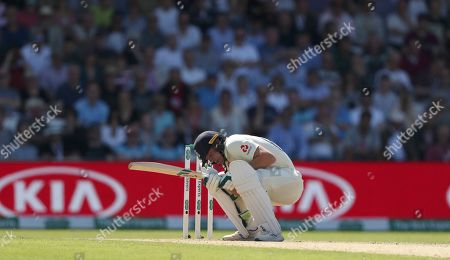 England's Jos Buttler ducks to avoid a bouncer from Australia's James Pattinson during play on day two of the third Ashes Test cricket match between England and Australia at Headingley cricket ground in Leeds, England